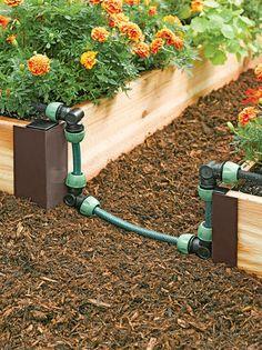 Garden Paving, Garden Boxes, Water Garden, Vegetable Garden, Watering Raised Garden Beds, Garden Watering System, Raised Beds, Drip Irrigation, Deco Floral