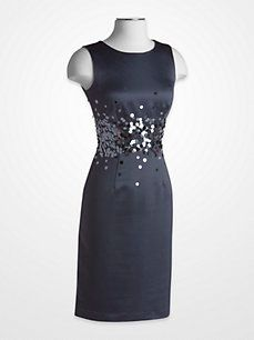 A banded waist ornamented by an array of #sequins #bedazzles this satin sheath Calvin Klein Slate Blue #Dress.
