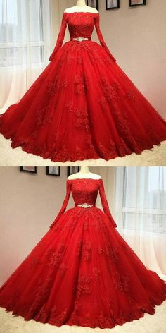 Custom Made Substantial Prom Dress Red Wedding Dresses, Ball Gown Prom Dress Red Lace Wedding Dress, Long Sleeve Bridal Dresses, Long Wedding Dresses, Dress Long, Gown Wedding, Tulle Wedding, Dress Formal, Formal Prom, Bridal Gowns