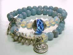 Blue Stone Yoga Om Ohm Stacking Layering Beaded by MyHippieSoul