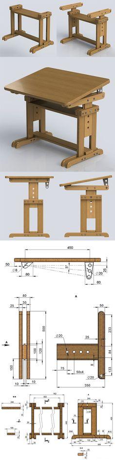Mesa de dibujo con compartimientos all wood pinterest for Planos de carpinteria