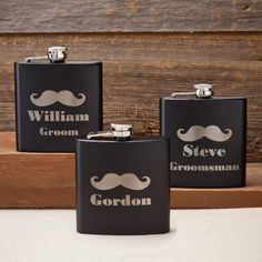 Mustache Flask with free personalization: the groom or groomsman's title and name.