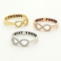 Nova Moda Melhores Amigos Gravado Amizade Infinity Anel Joias De Ouro E Prata