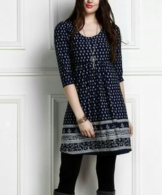 Look at this Navy Border Empire-Waist Tunic Dress - Plus Too Casual Work Outfits, Chic Outfits, Trendy Outfits, Casual Dresses, Fashion Dresses, Short Kurti Designs, Kurta Designs, Blouse Designs, Indian Designer Wear
