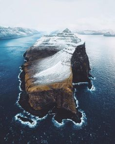 The snow capped Kalsoy island from above. Photo by Landscape Photography, Nature Photography, Travel Photography, Drone Photography, Photography Ideas, Cool Landscapes, Beautiful Landscapes, Places To Travel, Places To See