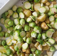 roasted maple sprouts with hazlenuts