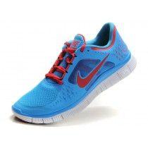 Nike Free Run + 3 Men's Sky Blue/University Red [sjWb8]