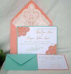 Coral n Tiffany Blue Turquoise Wedding by AllThingsAngelas on Etsy