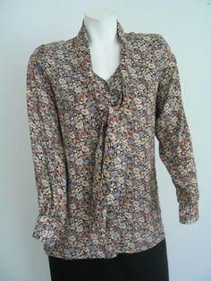 Vintage PIERRE CARDIN Size S Blouse Top  Multi Color Floral Tie Front #PierreCardin #ButtonDownblouse #Versatile