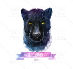 Watercolor set of animals | Panther by Krol on @creativemarket