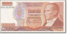 E7 YİRMİ BİN TÜRK LİRASI I. TERTİP Tedavüle Çıkarıldığı Tarih09.05.1988 Tedavülden Çekildiği Tarih09.09.1997 Resim Ön yüzAtatürk Portresi Arka yüzTürkiye Cumhuriyet Merkez Bankası İdare Merkezi Yeni Hizmet Binası (Ankara)