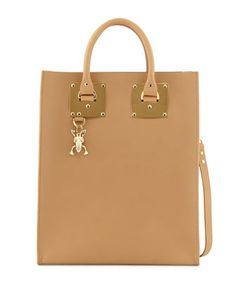 Buckled+Leather+Tote+Bag,+Camel+by+Sophie+Hulme+at+Neiman+Marcus.