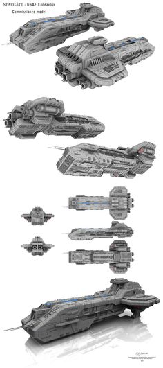 Commissioned Project - Stargate - USAF Endeavour by Mallacore on DeviantArt Spaceship Art, Spaceship Design, Spaceship Concept, Concept Ships, Concept Art, Stargate Ships, Stargate Atlantis, Battlefleet Gothic, Stargate Universe