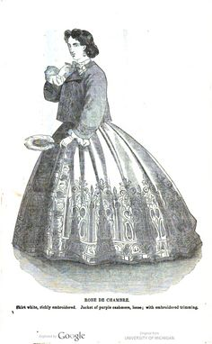 """1864 Arthur's Home Magazine. """"Robe de Chambre. Skirt white, richly embroidered. Jacket of purple cashmere, loose; with embroidered trimming."""""""