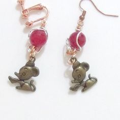 Mouse earrings mixed metals Jade pink bead mice handmade clip on or pierced #Pat2 #DropDangle