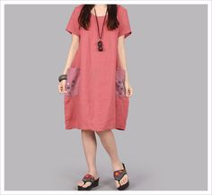 Casual Straight Natural Summer Dress Solid Regular Short Sleeve O-neck Pockets Knee-Length Loose Button Women Dress Shift Dresses, Loose Dresses, Vestidos Vintage, Curvy Outfits, Chic Outfits, Casual Dresses For Women, Clothes For Women, Plus Size Summer Dresses, Vintage Style Dresses