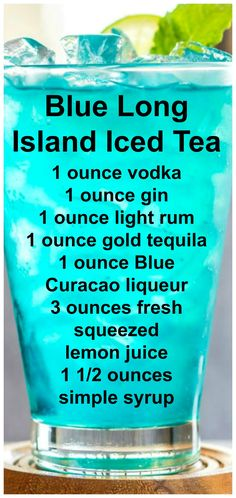 The Blue Long Island Iced Tea combines the white liquors of the Long Island Iced Tea with blue curacao and an easy upgraded sour mix you can make on the fly. Mixed Drinks Alcohol, Alcohol Drink Recipes, Punch Recipes, Four Loko, Blue Curacao, Curacao Drink, Blue Drinks, Summer Drinks, Refreshing Cocktails