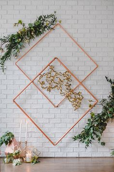 Geometric Wedding Inspiration with Vintage Touches Urban Wedding Inspiration for Jenny Buckland Hair and Make Up Wedding Backdrop Design, Diy Backdrop, Wedding Ceremony Backdrop, Backdrops, Wedding Decorations, Wedding Wall, Vintage Wedding Theme, Diy Wedding, Wedding Ideas