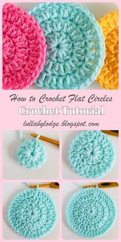 Learn how to crochet circles that lie flat every time, with this easy step by step guide by Lullaby Lodge. This tutorial instructs you how to make your circles with 3 different stitches. This tutorial is suitable for beginners who Crochet Circle Pattern, Crochet Coaster Pattern, Crochet Circles, Crochet Squares, Easy Crochet Patterns, Free Crochet, Knitting Patterns, Doilies Crochet, Doily Patterns