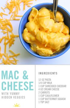 Vegetable Recipes For Kids Kid Friendly Vegetable Recipes Mac and Cheese with cauliflower and squash Kids wont even know they are in there Youre going to love this Clean Eating Snacks, Healthy Snacks, Healthy Recipes For Kids, Cooking Recipes For Kids, Recepies For Kids, Vegetarian Kids Recipes, Fast Recipes, Healthy Meals For Kids, Dinner Recipes For Kids