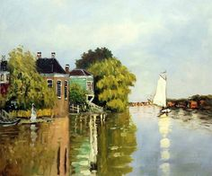 Claude Monet, Houses on the Achterzaan - Hand Painted Oil Painting on Canvas.  Pinterest