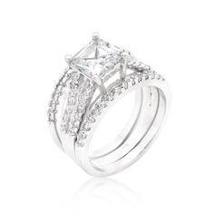 Princess Cut Cubic Zirconia Triple Bridal Set