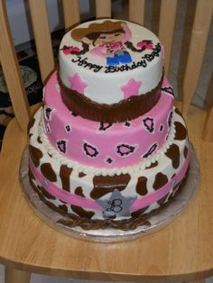 Pink and brown Cowgirl 3 tier cake for a Sheriff Callie's Wild West Party Cowgirl Birthday Cakes, Birthday Cakes Girls Kids, Cowgirl Cakes, Western Cakes, Horse Birthday, Cowgirl Party, First Birthday Cakes, Birthday Cake Toppers, Birthday Ideas