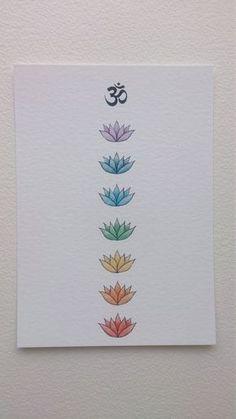 Om and Lotus Chakra Art Print, Chakra Drawing, Chakra colours, Om Drawing, Colour Print OM und Lotus Chakra Kunstdruck 5 x bei WhiteBuffaloArtworks Chakra Tattoo, Art Chakra, Chakra Painting, Chakra Symbols, Yoga Kunst, Line Art Tattoos, Tattoo Art, Kunst Tattoos, Chakra Colors