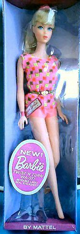 In 1967, the first Mod Barbie Dolls were released.   Twist 'n Turn Barbie Dolls had long straight hair and her wardrobe had a total makeover.