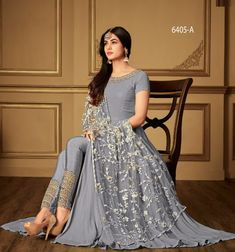 Purple Heavy Georgette Embroidery Work Party Wear Suit With Heavy Dupatta by Sourgrape's Online - Online shopping for Unstitched Dress Material on MyShopPrime - Designer Anarkali Dresses, Pakistani Dresses, Indian Dresses, Indian Outfits, Designer Dresses, Stylish Dresses, Fashion Dresses, Heavy Dupatta, Indian Designer Suits