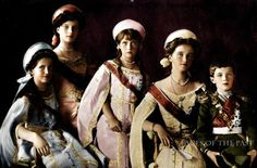 Grand Duchesses Maria, Tatiana, Anastasia and Olga and their brother Tsarevich Alexei in full court dress, 1911. Colorized photograph