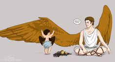 "howelliterally: "" jillyfishmcbacon: "" weyrwomanofbenden: "" quercusrubra: "" More of baby Cas and his big brother, Gabriel. "" That is just too adorable.Cas is such a cute fledgling! "" THE TOY IMPALA..."