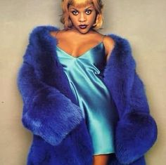 Lil kim 90s blue faux fur jacket coat metallic nightie mini dress
