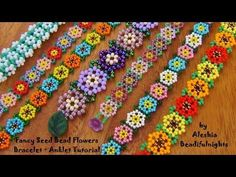 Fancy Seed Bead Flowers Bracelet ~ Seed Bead Tutorials