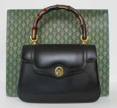 """1970's """"New"""" Gucci Black Leather Handbag 