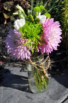 dalihas, green spider mums, white lizzy and bear grass Spider Mums, Green Button, Dahlias, Mom And Dad, White Flowers, Grass, Mason Jars, Glass Vase, Centerpieces