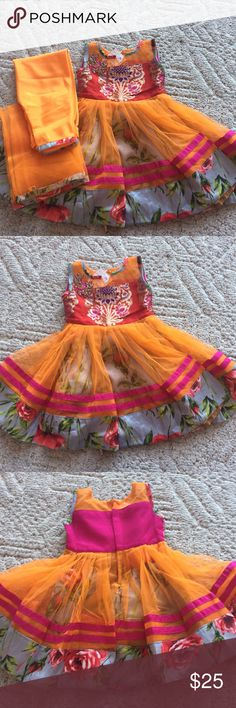 "Orange/pink anarkali style Top length ""18 1/2"" pant draw at waist and chudidar style.. for age 1 to 2 .never wore before. Other"