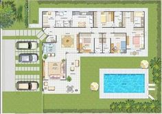Resultado de imagem para plantas de casas terreas 4 quartos