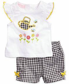 Kids Headquarters Baby Girls' 2-Piece Flower Top & Gingham Shorts Set