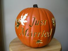 Fall Wedding Carved Decorative Pumpkin Just Married
