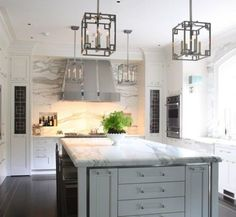 #lighting, #kitchen, #gray, #countertop, #marble    View entire slideshow: 15 Stunning Gray Kitchens on http://www.stylemepretty.com/collection/277/