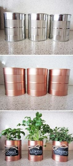 DIY Copper Tin Can Planters And Chalkboard Tags. DIY Copper Tin Can Planters And Chalkboard Tags. DIY Window Plant minutes planter Cute Ways To Decorate Spray Paint Projects, Diy Spray Paint, Spray Painting, Craft Projects, Project Ideas, Diy Upcycling Projects, Diy Projects Recycled, Home Craft Ideas, Diy Projects On A Budget