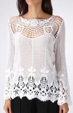 White Sheer Crochet Top