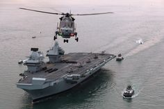 HMS Queen Elizabeth the aircraft carrier arrived in Portsmouth 2017
