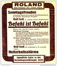 """Original-Werbung/ Anzeige 1936 - ROLAND FILM THEATER / WEISS FERDL IN """"BEFEHL…"""