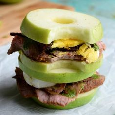 Green apple 'buns' loaded with roast beef, bacon, egg and pesto!