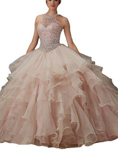 LMBRIDAL Women's Ball Gown Ruffled Beading Prom Dress Halter Quinceanera Pearl Pink 10   #FreedomOfArt  Join us, SUBMIT your Arts and start your Arts Store   https://playthemove.com/SignUp
