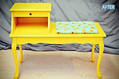 Amazing Gossip Bench/Telephone Table transformation!