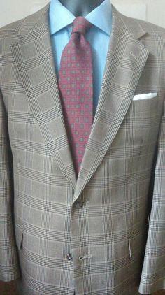 Hart Schaffner & Marx Brown Glen Plaid Silk & Wool, 42 Long #golong42 #luxuriousfeel http://stores.ebay.com/7thvintage