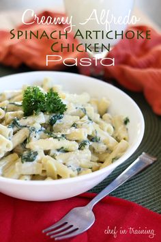 Creamy Alfredo Spinach Artichoke Chicken Pasta